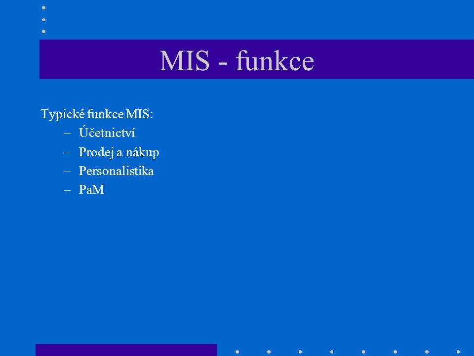 MIS - funkce Typické funkce MIS: Účetnictví Prodej a nákup