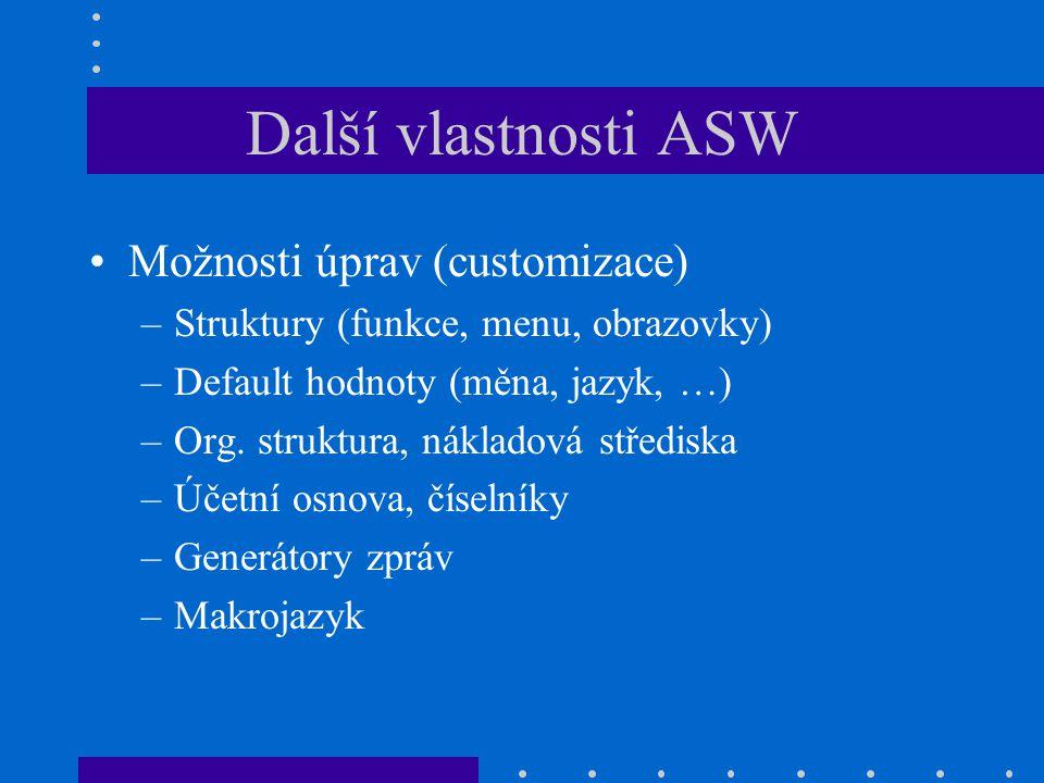 Další vlastnosti ASW Možnosti úprav (customizace)
