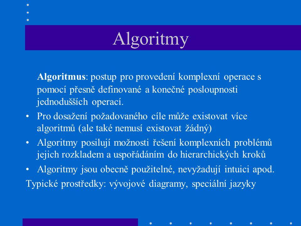 Algoritmy Algoritmus: postup pro provedení komplexní operace s pomocí přesně definované a konečné posloupnosti jednodušších operací.