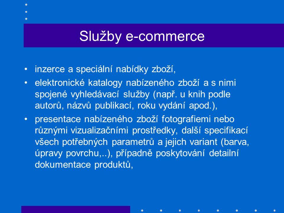 Služby e-commerce inzerce a speciální nabídky zboží,