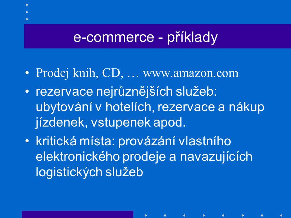 e-commerce - příklady Prodej knih, CD, … www.amazon.com