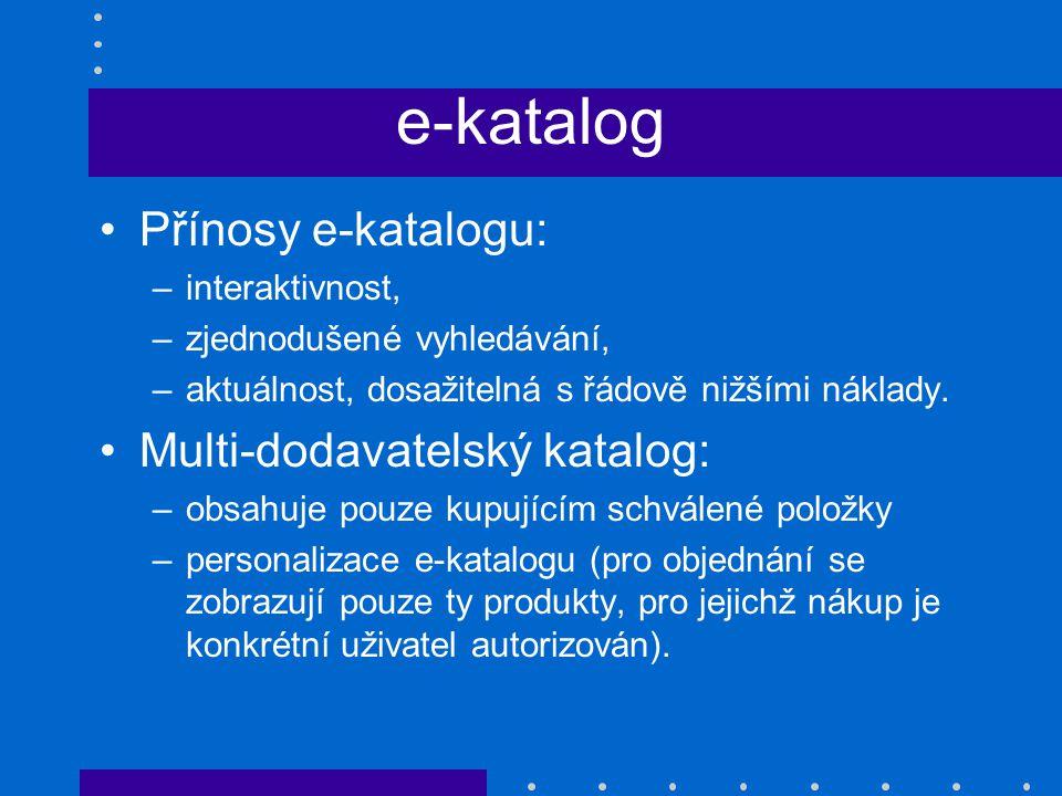 e-katalog Přínosy e-katalogu: Multi-dodavatelský katalog: