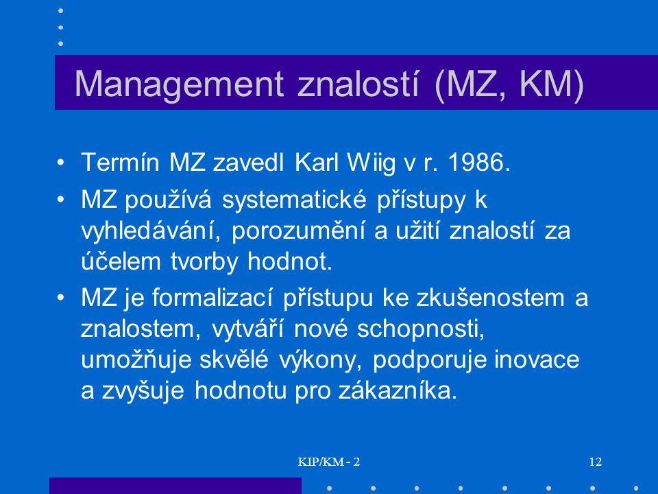 Management znalostí (MZ, KM)