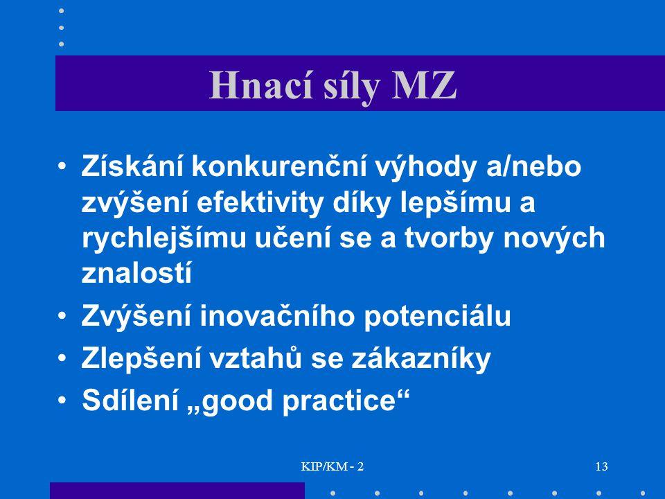 Hnací síly MZ Získání konkurenční výhody a/nebo zvýšení efektivity díky lepšímu a rychlejšímu učení se a tvorby nových znalostí.