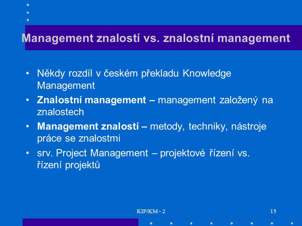 Management znalostí vs. znalostní management