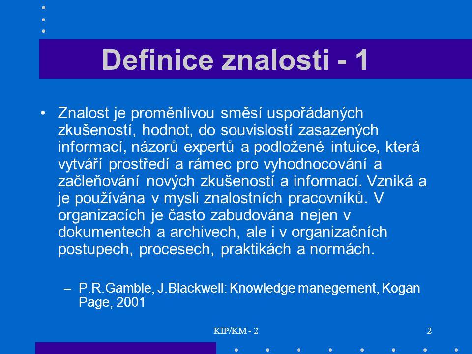 Definice znalosti - 1