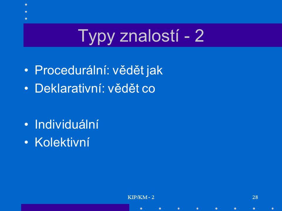 Typy znalostí - 2 Procedurální: vědět jak Deklarativní: vědět co