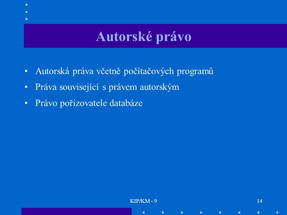Autorské právo Autorská práva včetně počítačových programů