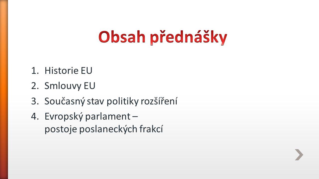 Obsah přednášky Historie EU Smlouvy EU