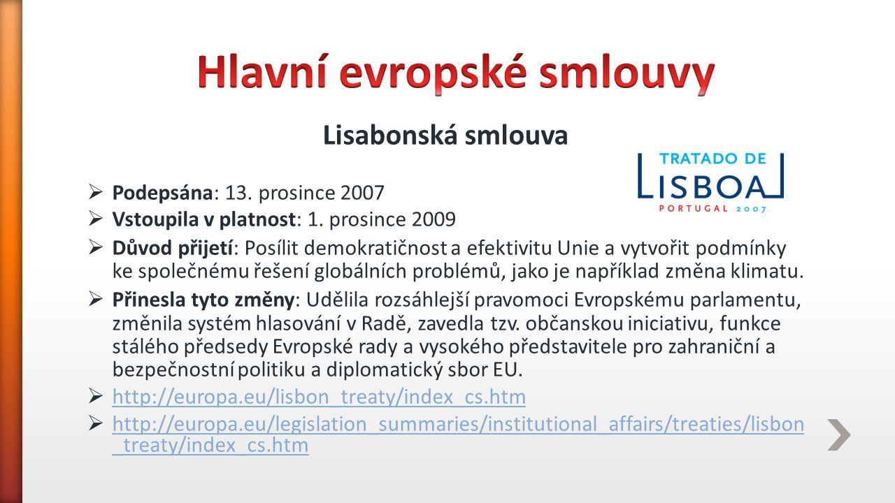 Hlavní evropské smlouvy