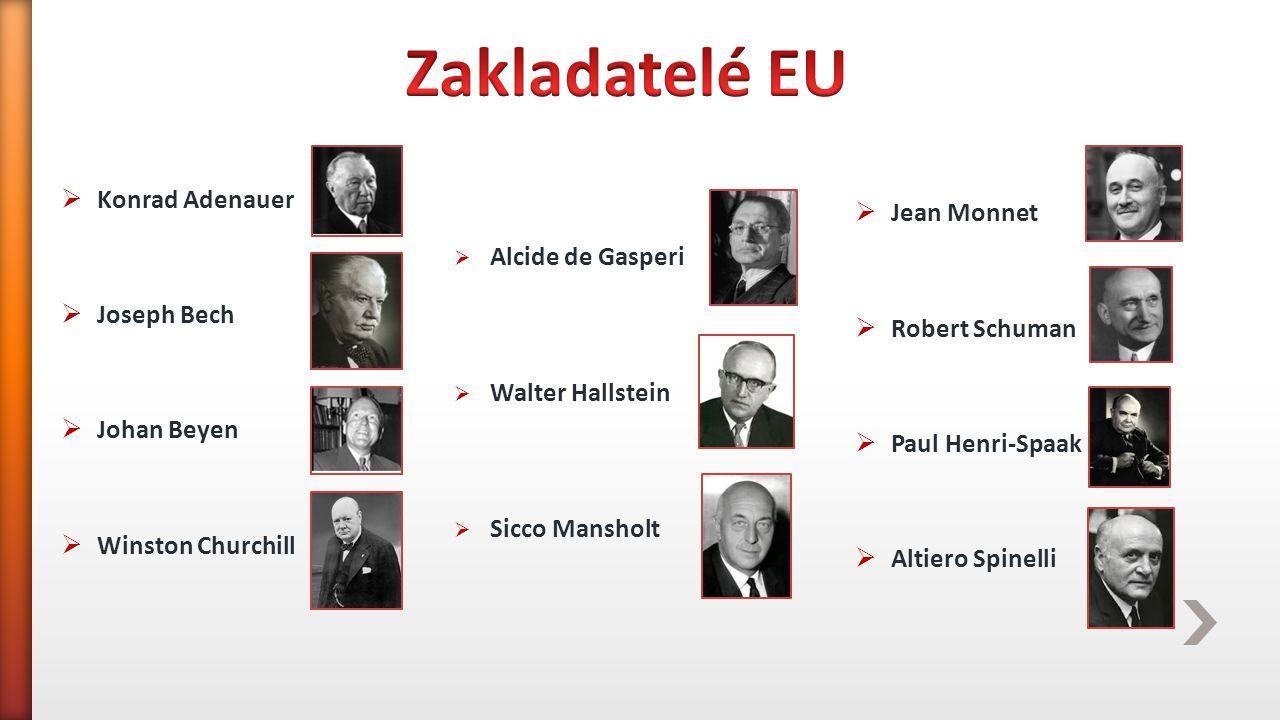 Zakladatelé EU Jean Monnet Konrad Adenauer Robert Schuman Joseph Bech
