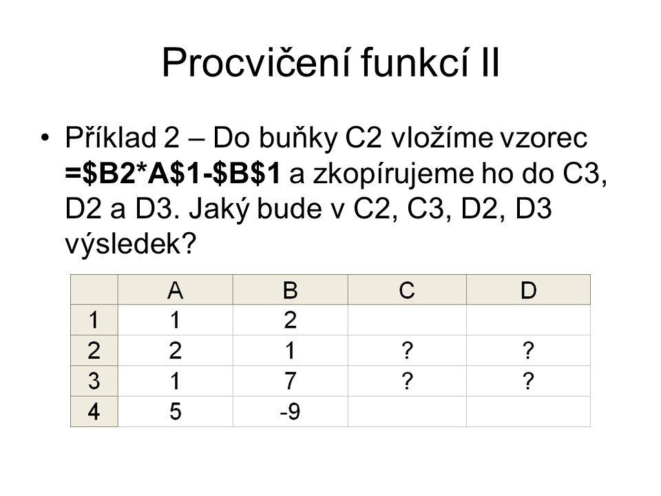 Procvičení funkcí II Příklad 2 – Do buňky C2 vložíme vzorec =$B2*A$1-$B$1 a zkopírujeme ho do C3, D2 a D3.