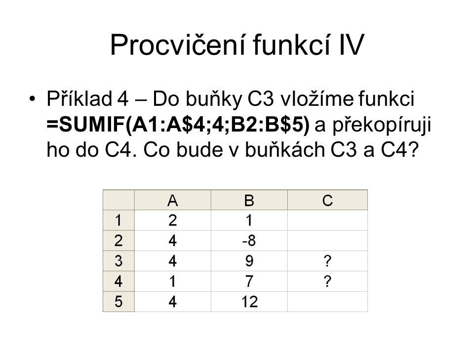 Procvičení funkcí IV Příklad 4 – Do buňky C3 vložíme funkci =SUMIF(A1:A$4;4;B2:B$5) a překopíruji ho do C4.