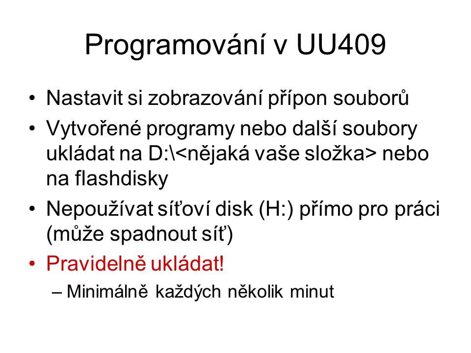 Programování v UU409 Nastavit si zobrazování přípon souborů