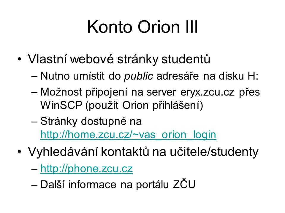 Konto Orion III Vlastní webové stránky studentů