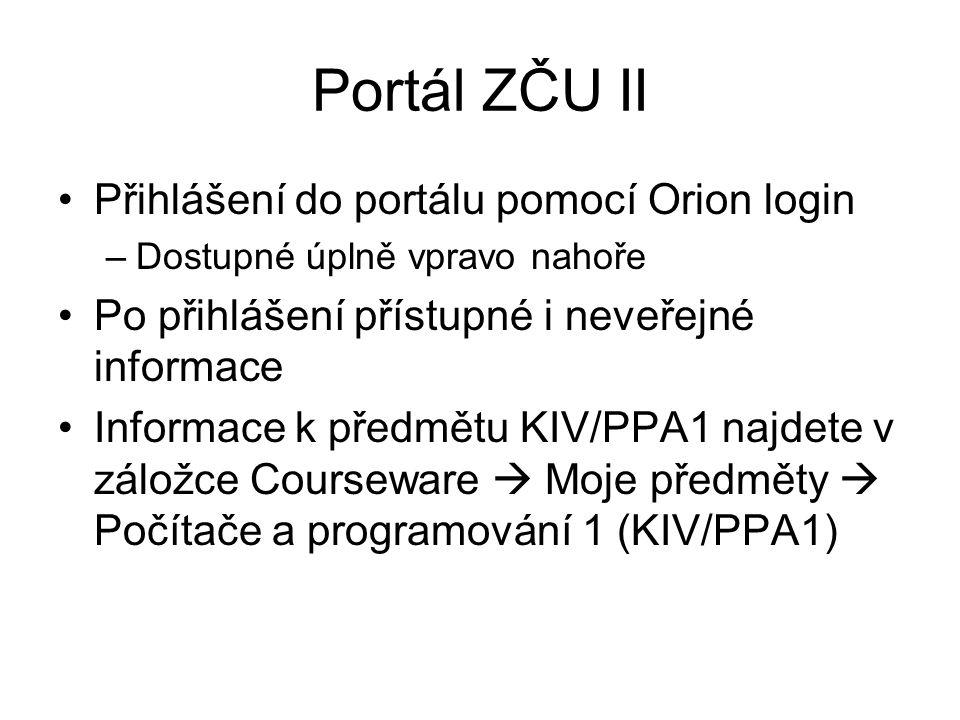 Portál ZČU II Přihlášení do portálu pomocí Orion login