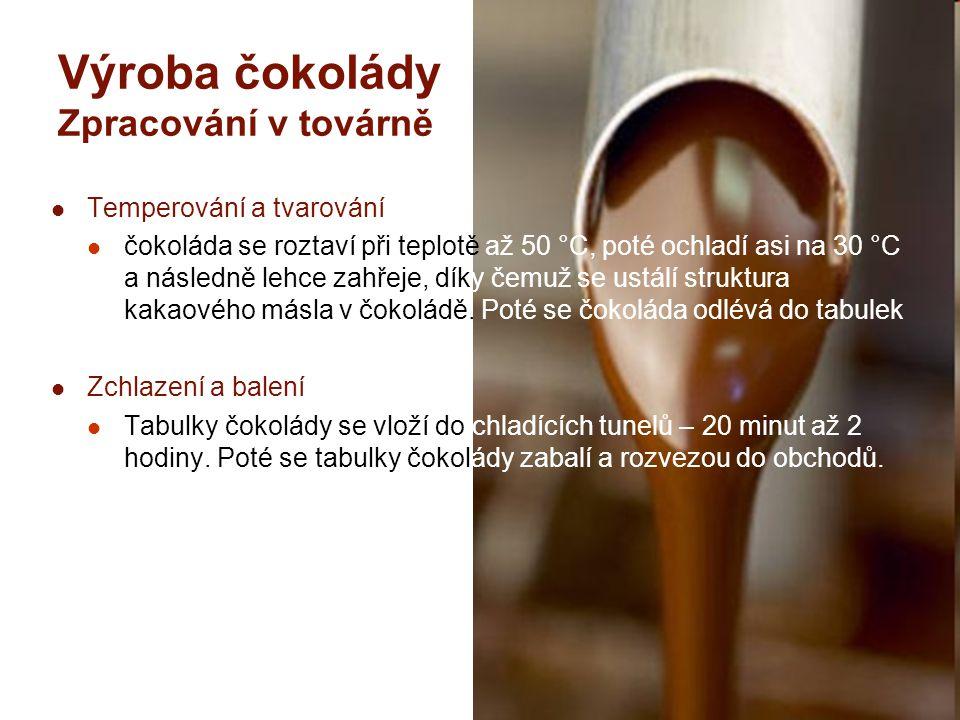 Výroba čokolády Zpracování v továrně