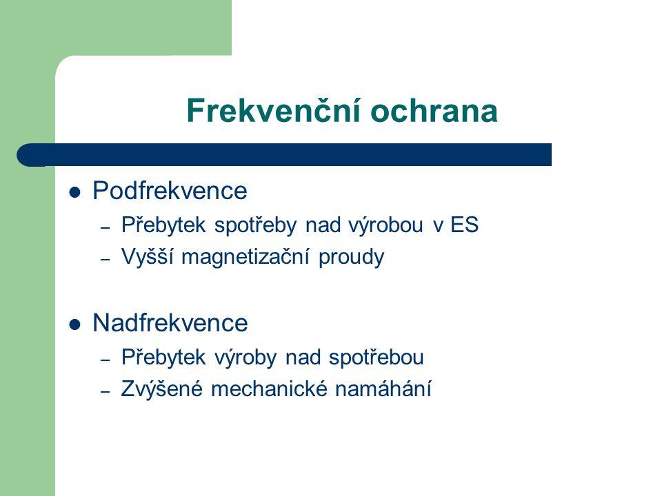 Frekvenční ochrana Podfrekvence Nadfrekvence