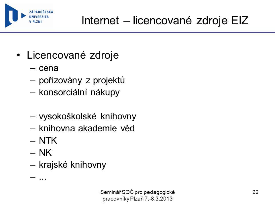 Internet – licencované zdroje EIZ