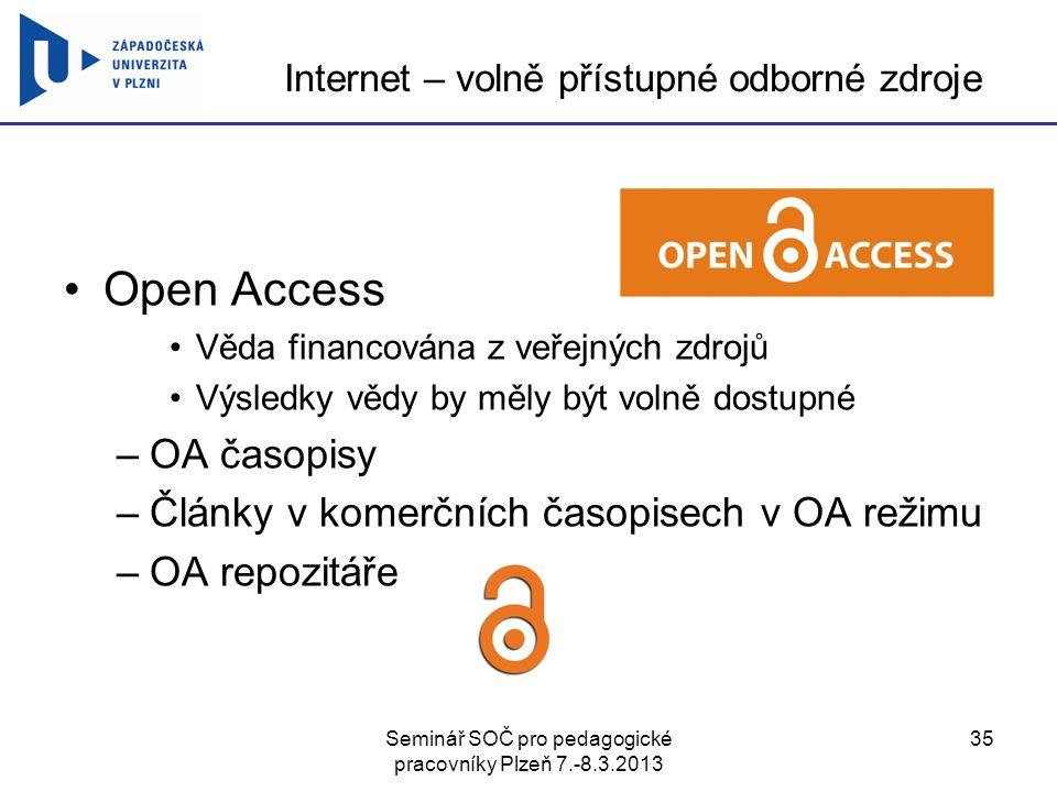 Internet – volně přístupné odborné zdroje
