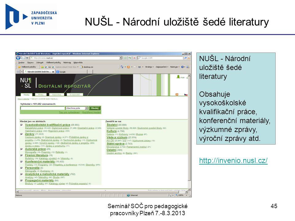 NUŠL - Národní uložiště šedé literatury