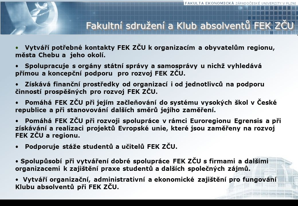 Fakultní sdružení a Klub absolventů FEK ZČU
