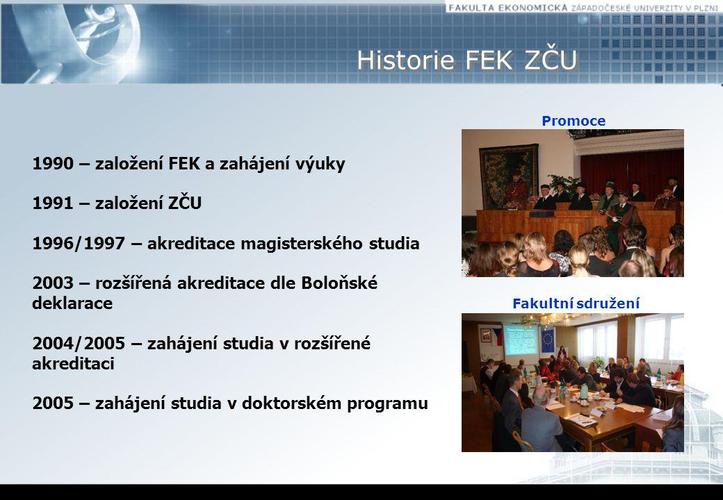 Historie FEK ZČU Promoce 1990 – založení FEK a zahájení výuky