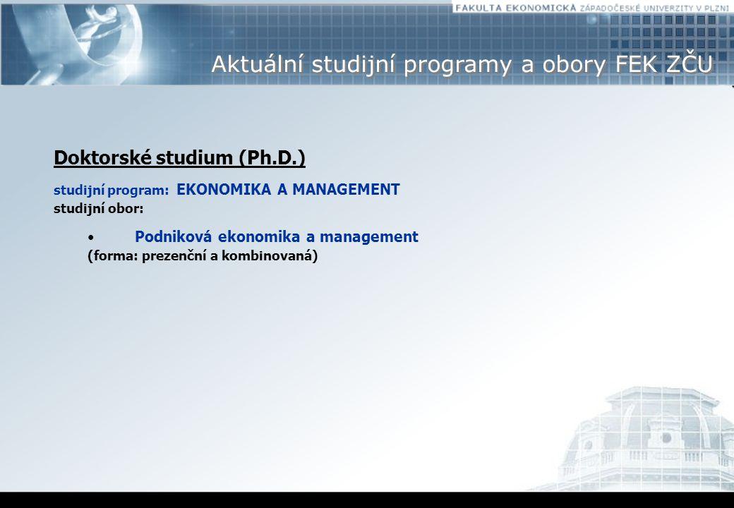 Aktuální studijní programy a obory FEK ZČU