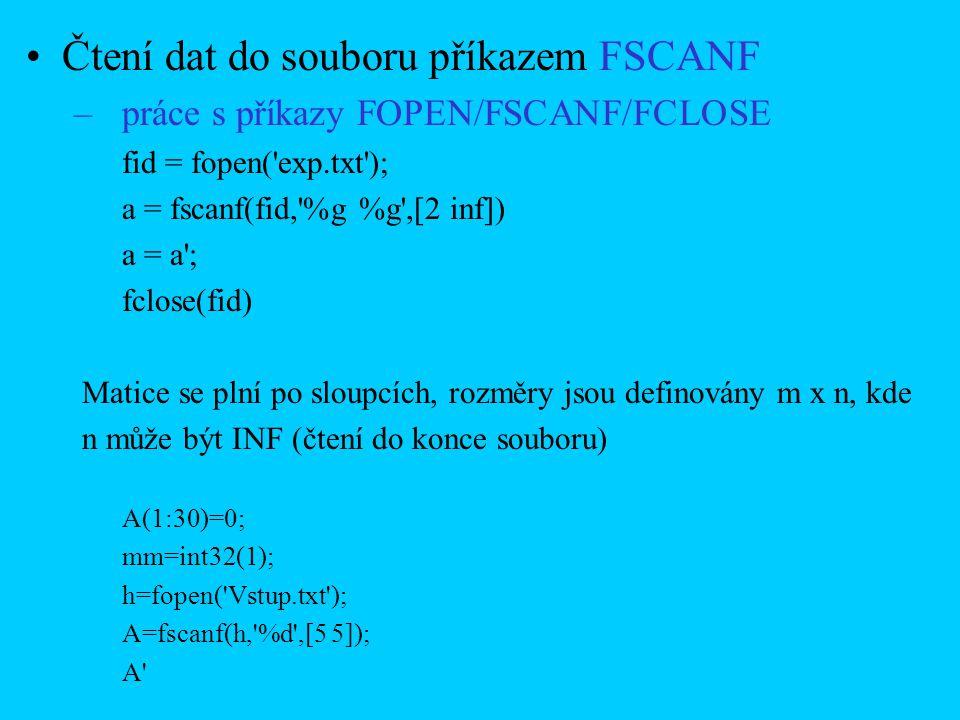 Čtení dat do souboru příkazem FSCANF