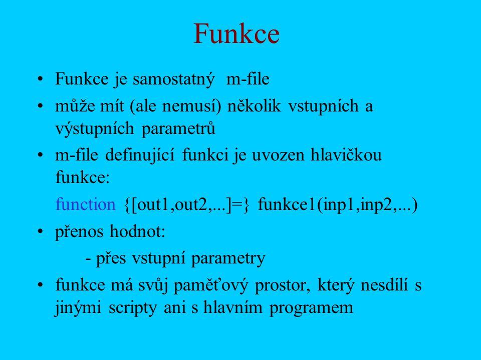 Funkce Funkce je samostatný m-file