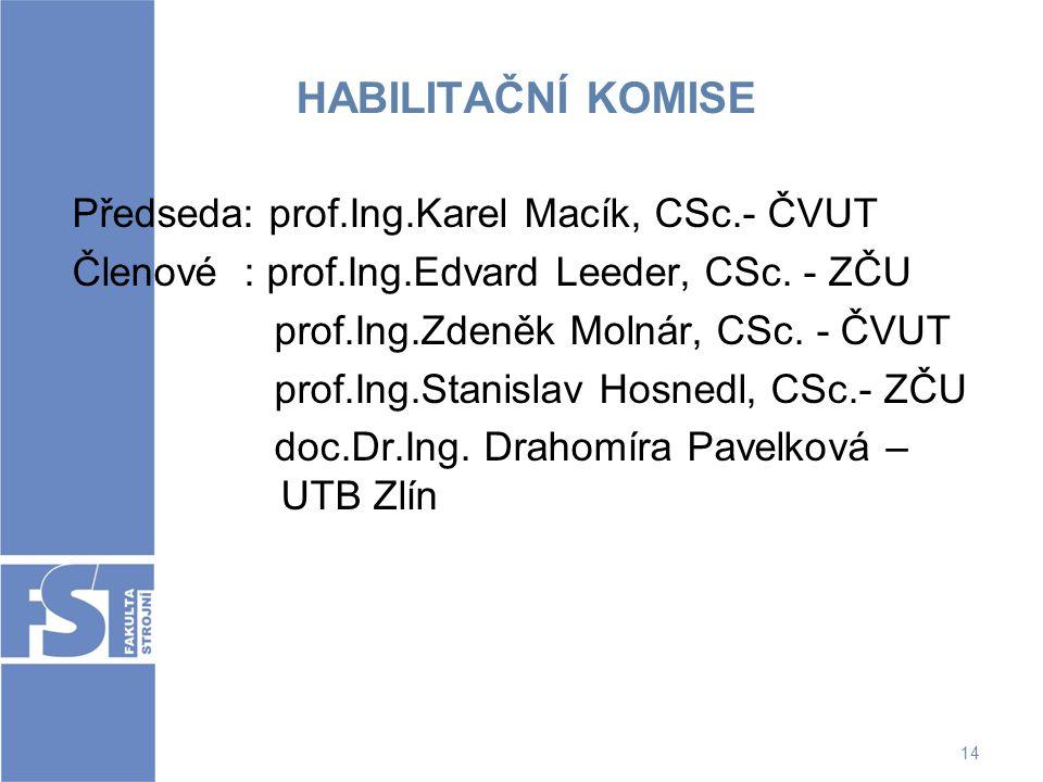 HABILITAČNÍ KOMISE Předseda: prof.Ing.Karel Macík, CSc.- ČVUT