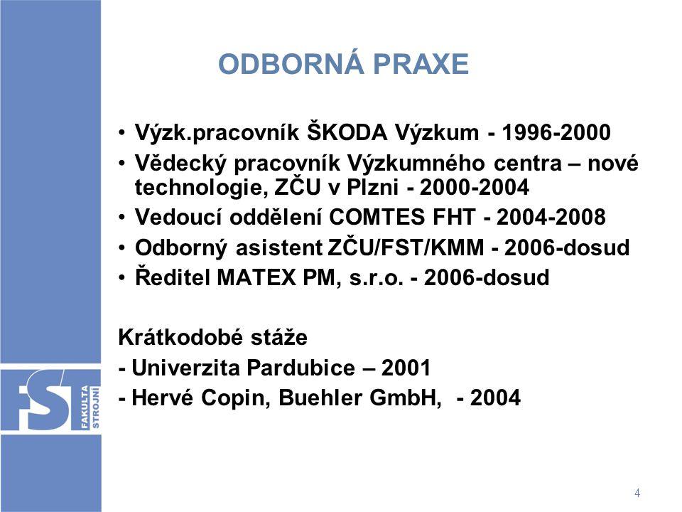 ODBORNÁ PRAXE Výzk.pracovník ŠKODA Výzkum - 1996-2000
