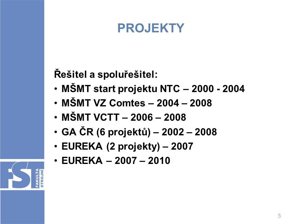 PROJEKTY Řešitel a spoluřešitel: MŠMT start projektu NTC – 2000 - 2004