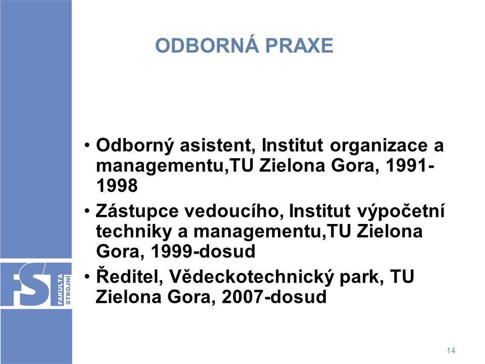 ODBORNÁ PRAXE Odborný asistent, Institut organizace a managementu,TU Zielona Gora, 1991-1998.
