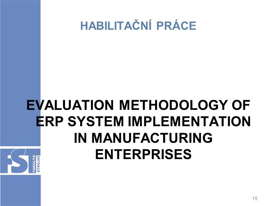 HABILITAČNÍ PRÁCE EVALUATION METHODOLOGY OF ERP SYSTEM IMPLEMENTATION IN MANUFACTURING ENTERPRISES