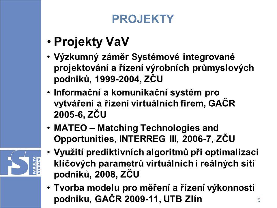 PROJEKTY Projekty VaV. Výzkumný záměr Systémové integrované projektování a řízení výrobních průmyslových podniků, 1999-2004, ZČU.