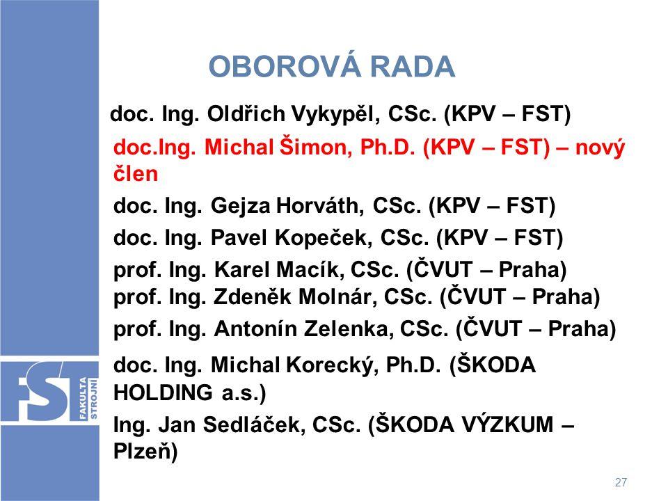 doc. Ing. Oldřich Vykypěl, CSc. (KPV – FST)
