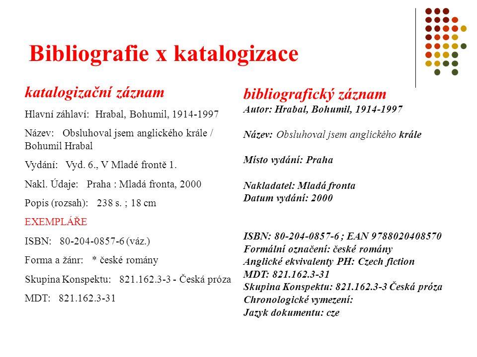 Bibliografie x katalogizace