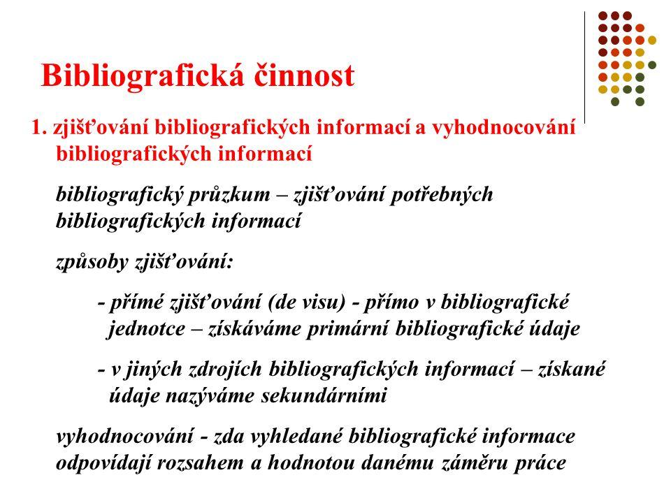 Bibliografická činnost