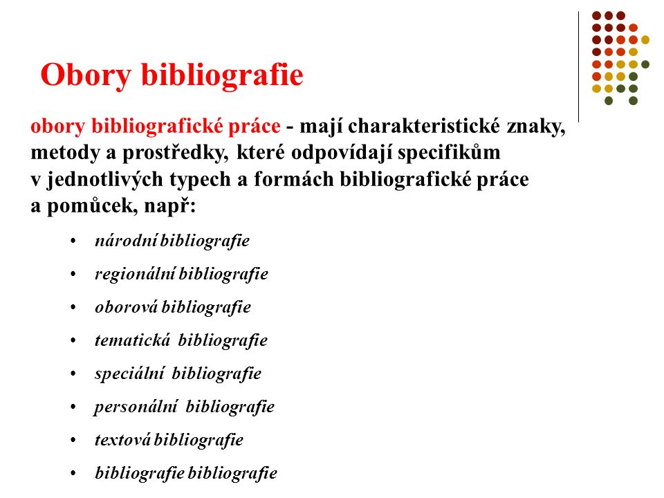 Obory bibliografie