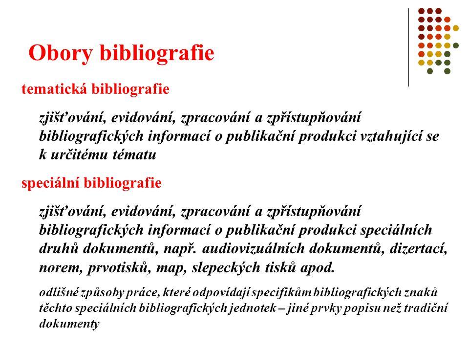 Obory bibliografie tematická bibliografie