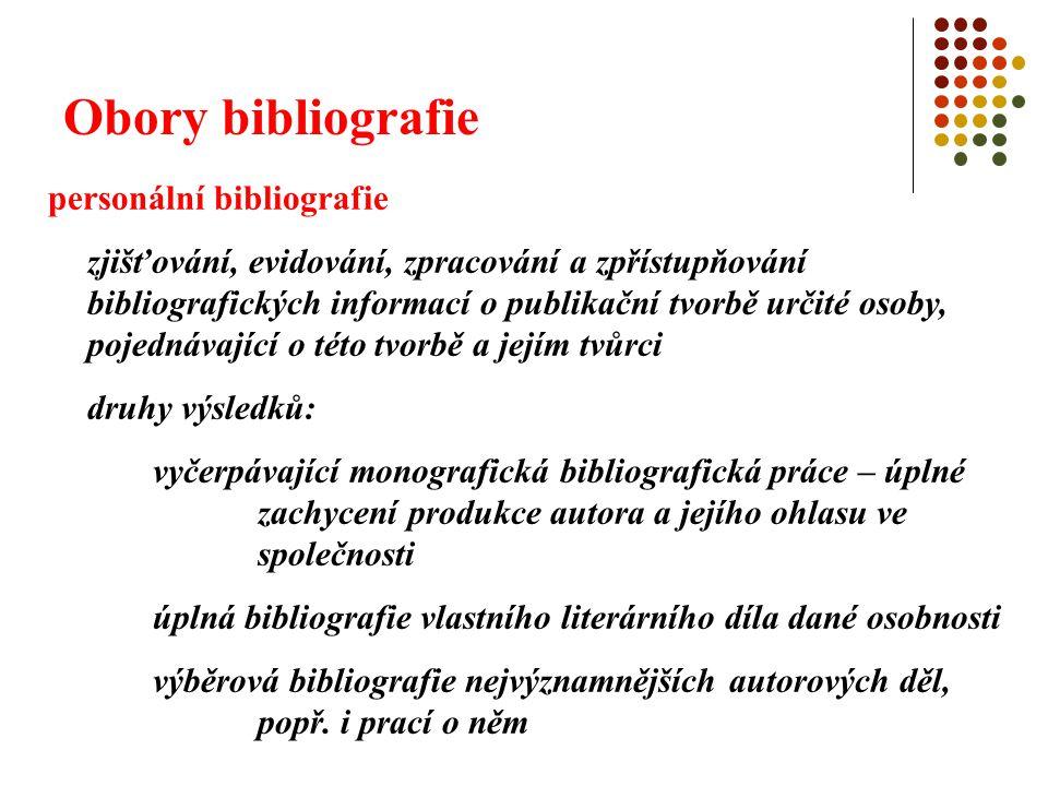 Obory bibliografie personální bibliografie