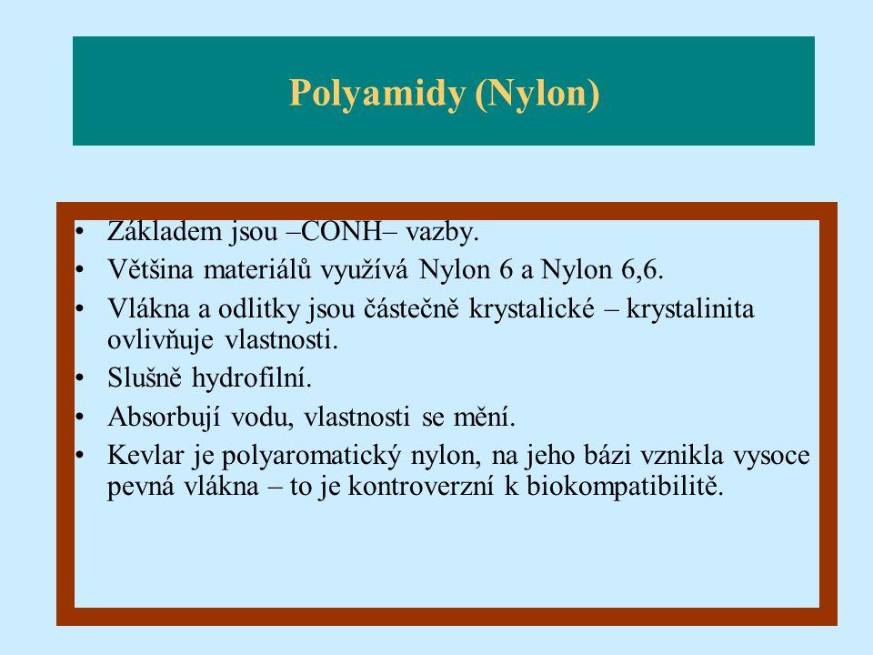 Polyamidy (Nylon) Základem jsou –CONH– vazby.
