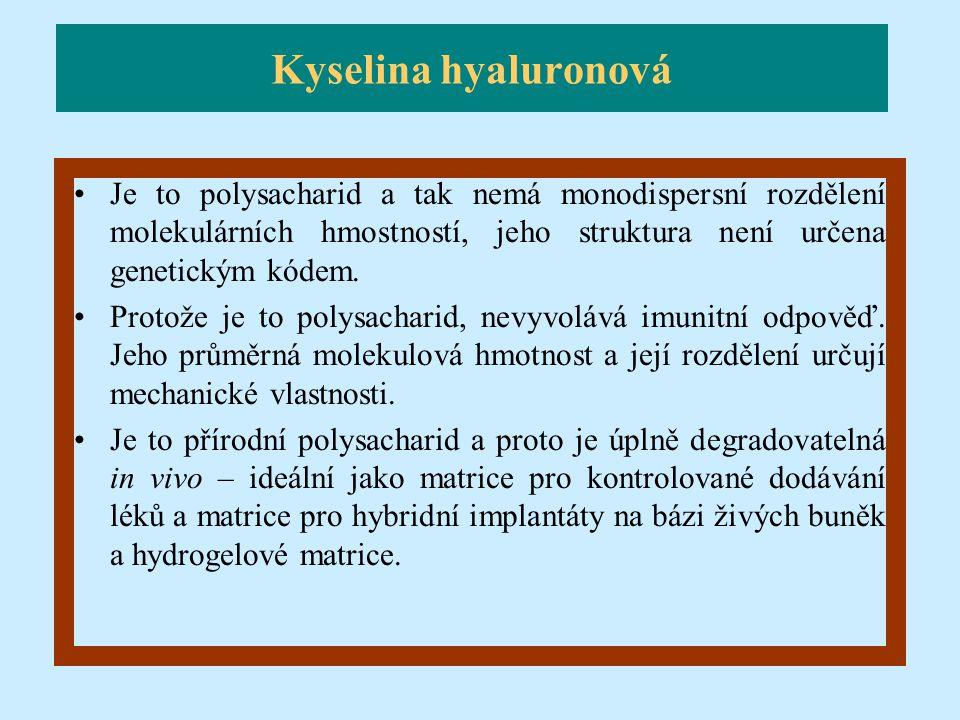 Kyselina hyaluronová Je to polysacharid a tak nemá monodispersní rozdělení molekulárních hmostností, jeho struktura není určena genetickým kódem.