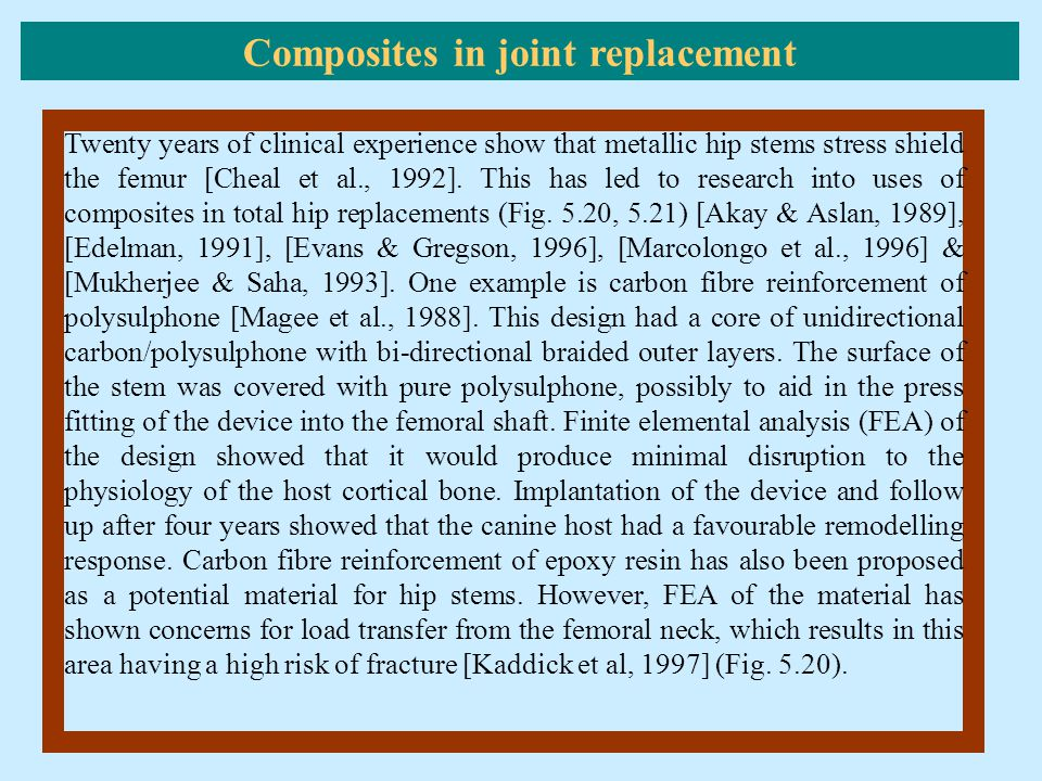 Composites in joint replacement
