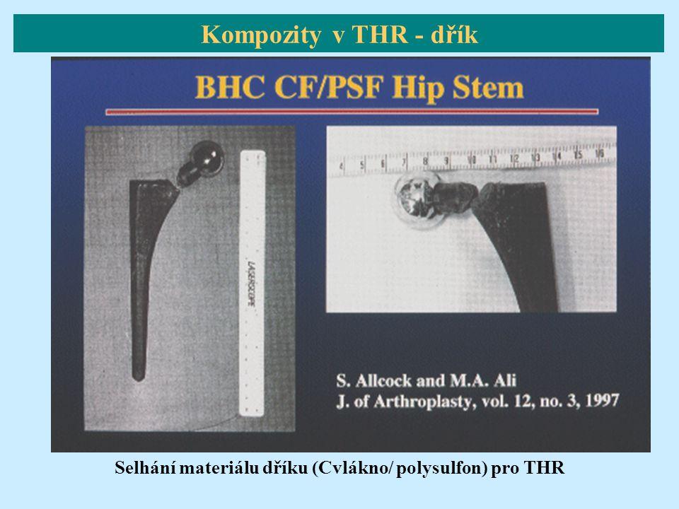 Selhání materiálu dříku (Cvlákno/ polysulfon) pro THR