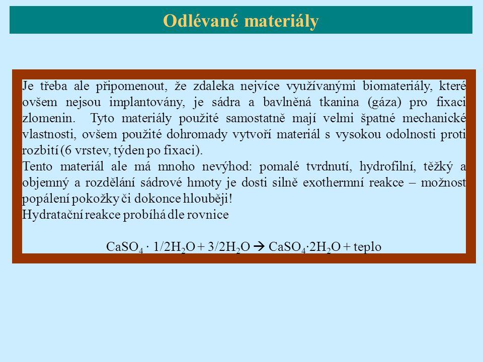 CaSO4 · 1/2H2O + 3/2H2O  CaSO4·2H2O + teplo