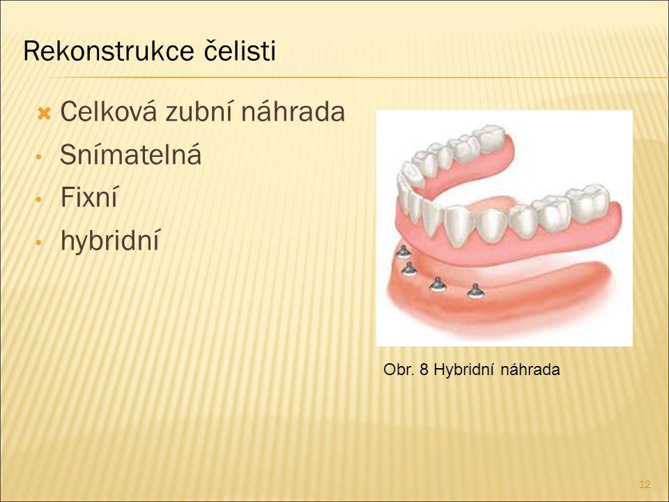 Rekonstrukce čelisti Celková zubní náhrada Snímatelná Fixní hybridní