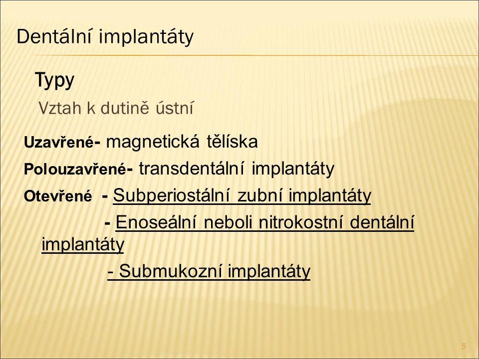 Dentální implantáty Typy Vztah k dutině ústní
