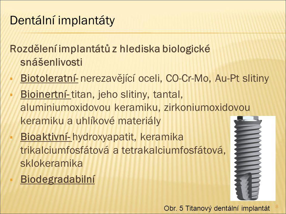 Dentální implantáty Rozdělení implantátů z hlediska biologické snášenlivosti. Biotoleratní- nerezavějící oceli, CO-Cr-Mo, Au-Pt slitiny.